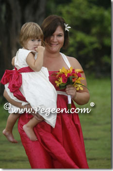 Lipstick pink and white silk infant flower girl dresses