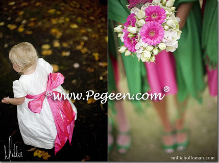 Hot pink and green flower girl dresses Style 398