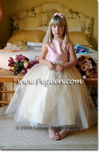IVORY AND PINK TULLE FLOWER GIRL DRESSES Style 356
