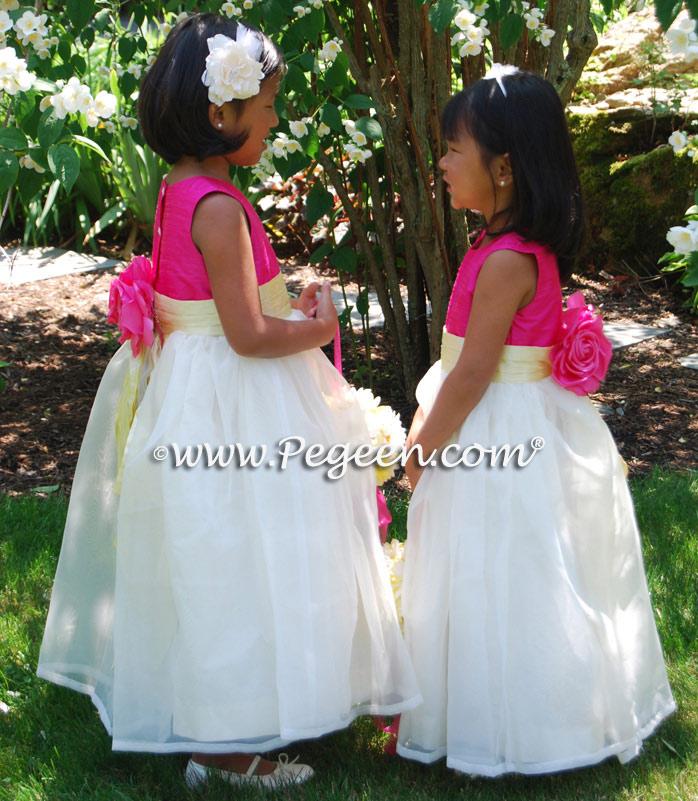Custom Silk Ivory, Cerise (hot pink) and Lemonade (yellow) Flower Girl Dress Style 313