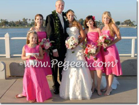 White & Hot Pink silk Jr Bridesmaids dresses