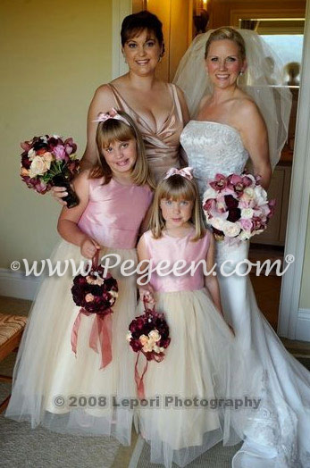 Pink and Buttercreme flower girl dresses