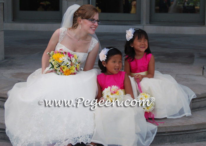 Ivory, Cerise (hot pink) and Lemonade (yellow)organza CUSTOM FLOWER GIRL DRESSES BY PEGEEN