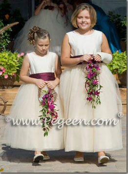 ivory and eggplant purple tulle flower girl dresses Style 402
