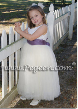 Euro lilac tulle flower girl dress with dotted Swiss bodice