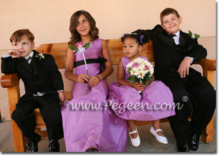 Purple and Black silk flower girl dresses