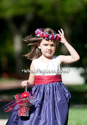 Purple and Cranberry Flower Girl Dress Pegeen Style 388