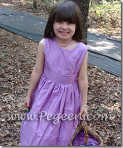Amethyst Purple Custom Silk Flower Girl Dress Style 318