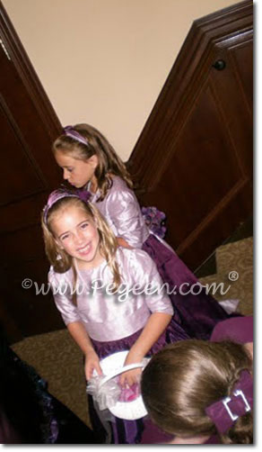 Flower girl dresses and Jr Bridesmaids dresses with long sleeves and high necks  purple