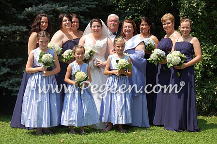 Wisteria and navy flower girl dresses junior bridesmaids dresses by Pegeen
