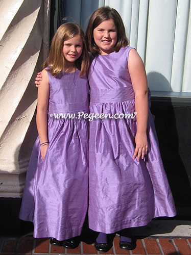 Purple silk Jr. Bridesmaids dresses