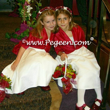 Red flower girl dresses with bolero jackets