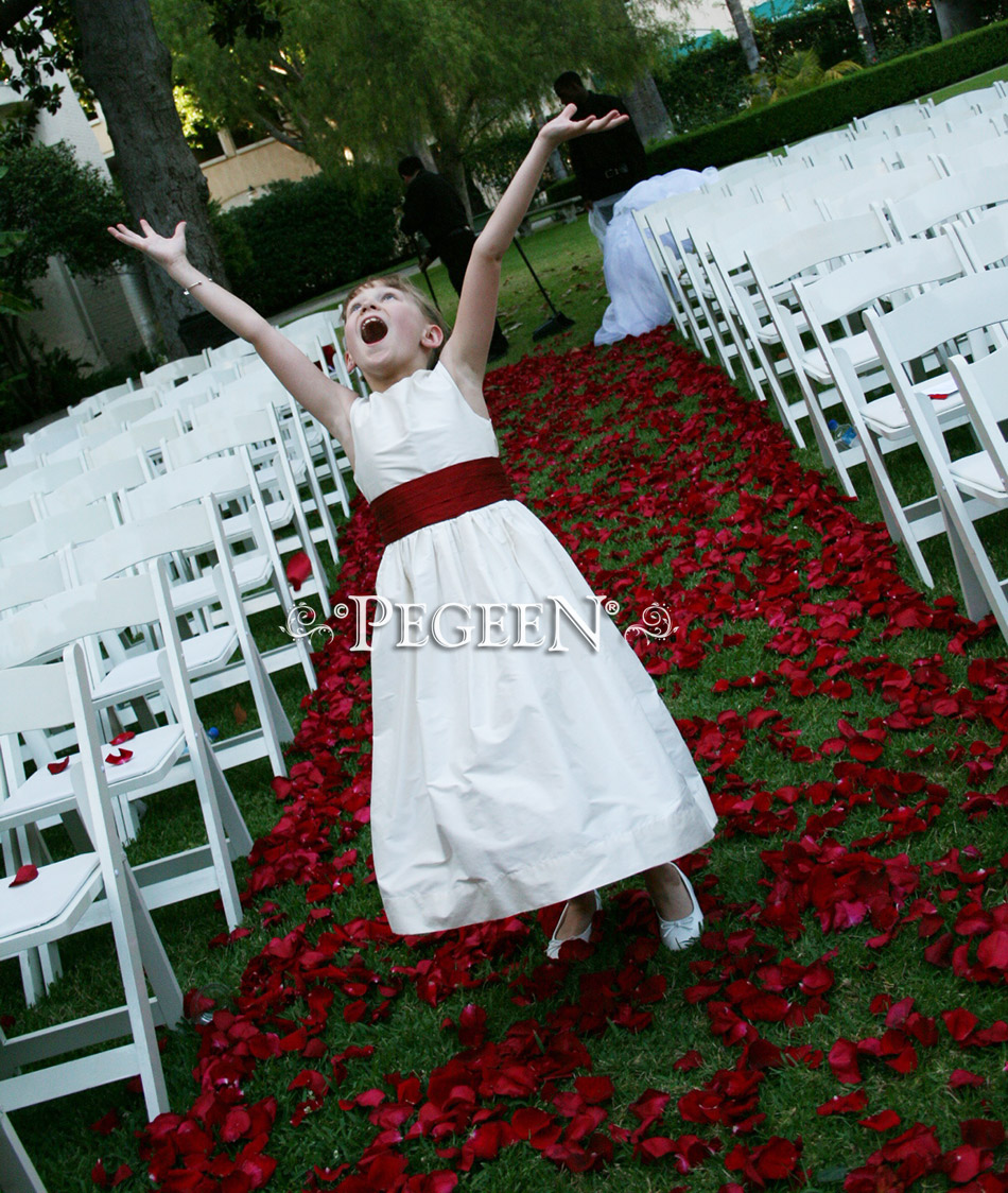 Flower girl dress in white and red