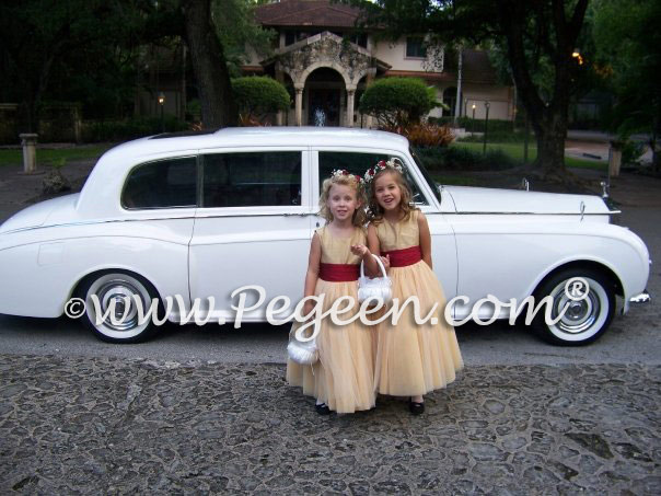 Gold and red tulle flower girl dressses by Pegeen