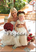 Creme and Red Tulle flower girl dresses