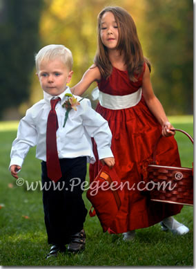 Red custom silk flower girl dresses