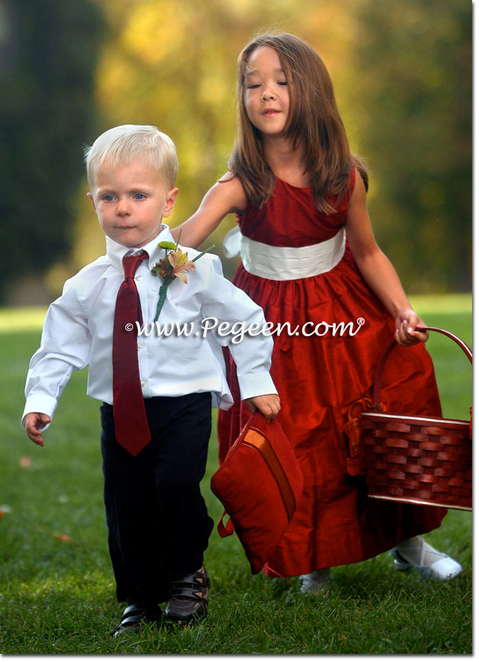 Red and white silk flower girl dress