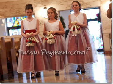 Cranberry and Ivory flower girl dresses