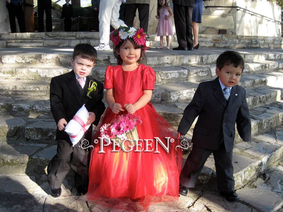 Raspberry pink or red tulle flower girl dresses