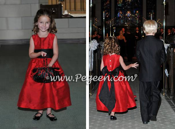 Red and black flower girl dresses Pegeen Classic Style 398