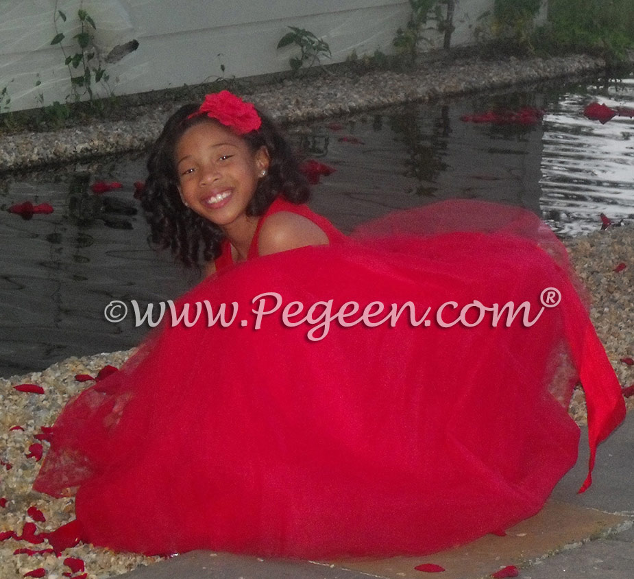 Red tulle flower girl dresses by Pegeen Style 402