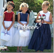 Flower Girl Dresses - Patriotic Themed wedding redd white & blue flower girl dresses