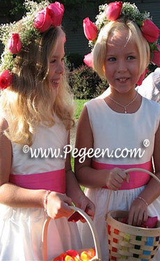 New Ivory and bright pink shock flower girl dresses