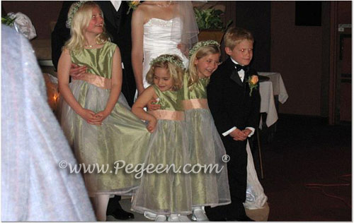 Custom sage green and peach silk flower girl dresses with organza skirts