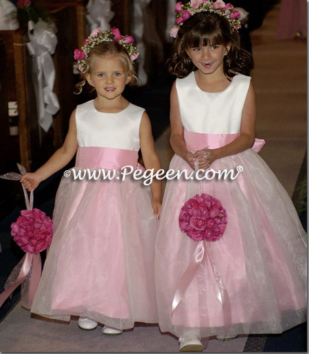 Bubblegum pink and white flower girl dresses Style 326