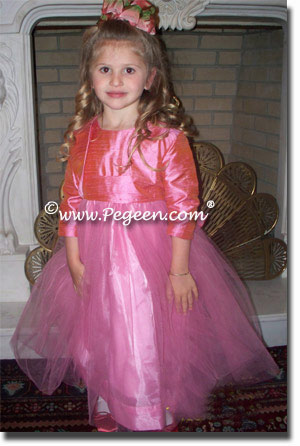 watermelon pink flower girl dresses for birthday