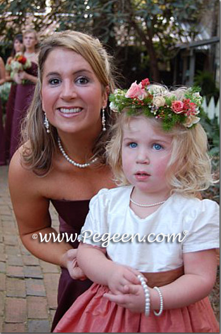 salmon flame and ginger flower girl dresses