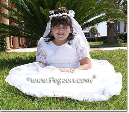 Pegeen style 963 Aloncon lace and antique white silk flower girl dress or communion dress