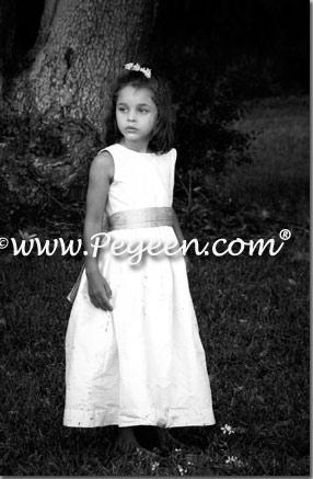 Pegeen style 398 custom silk ivory and light blue flower girl dresses