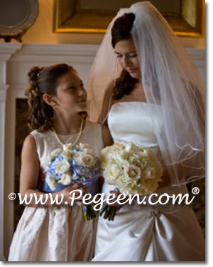 Blue and creme flower girl dresses