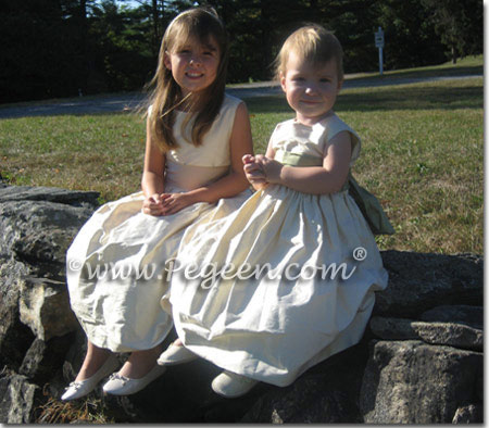 Custom buttercreme and sage flower girl dresses
