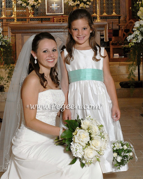 Aqualine and white silk custom flower girl dresses