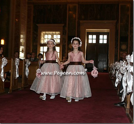 rum pink and chocolate flower girl dresses