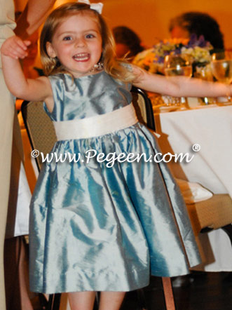 Caribbean - Lagoon and Fawn Jim Hjelm matching flower girl dress