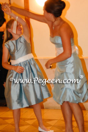 Caribbean - Lagoon and Fawn Jim Hjem matching flower girl dress Style 398