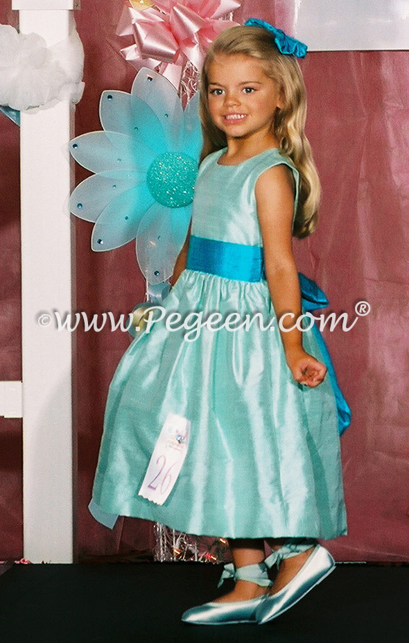 Tiffany blue and pool blue flower girl dress used for a Pageant