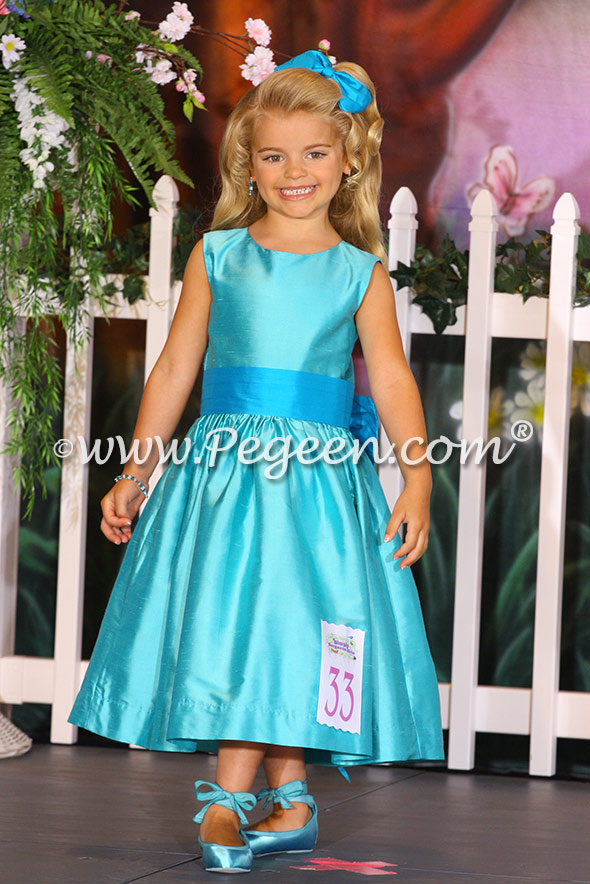 Flower girl dress in Turquoise and Deep Sea Style 345
