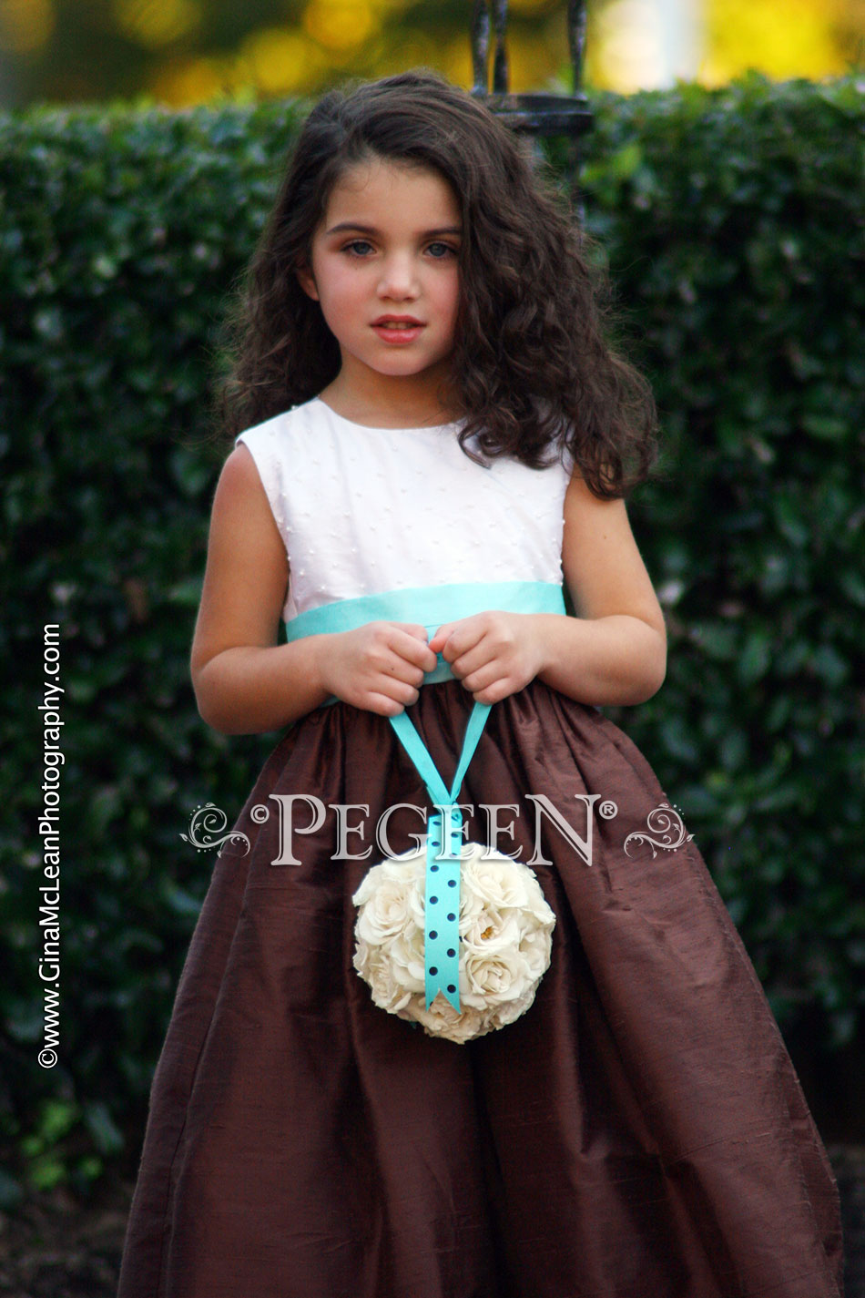 Chocolate Brown and Pond (Tiffany Blue) Silk and Pearled flower girl dresses