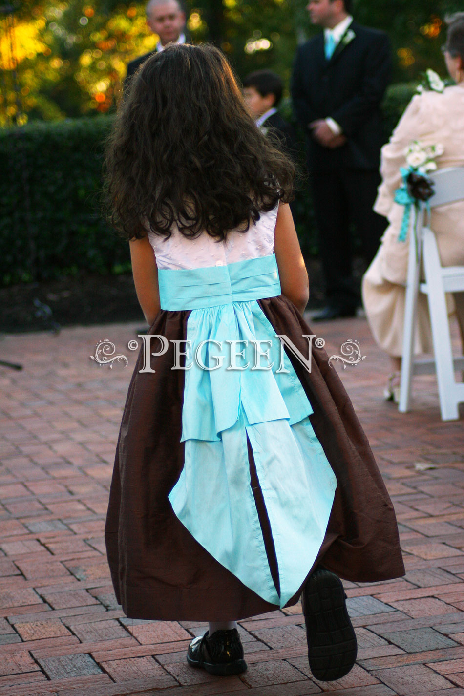 chocolate brown tiffany pond and ivory silk with pearls flower girl dresses