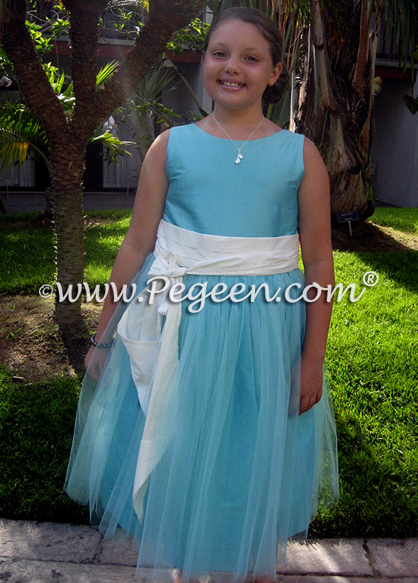 Antique white and tiffany blue tulle jr bridesmaids dress Style 356
