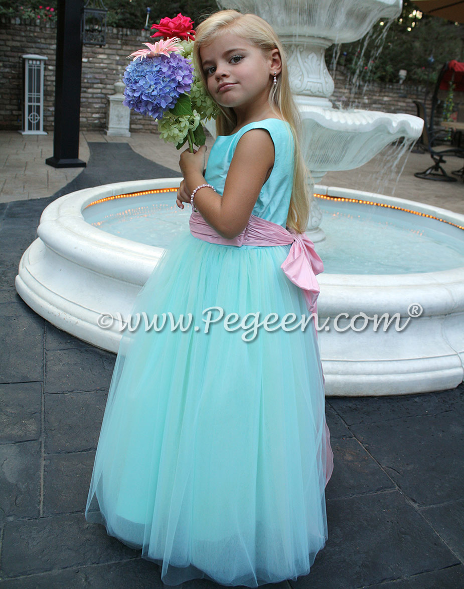 Tiffany And Bubblegum Pink Ballerina Style Flower Girl Dresses Pegeen