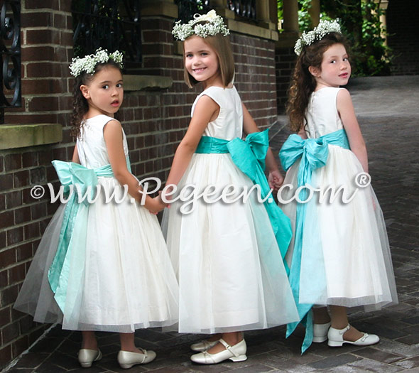 Bisque and tiffany blue tulle flower girl dresses Style 356