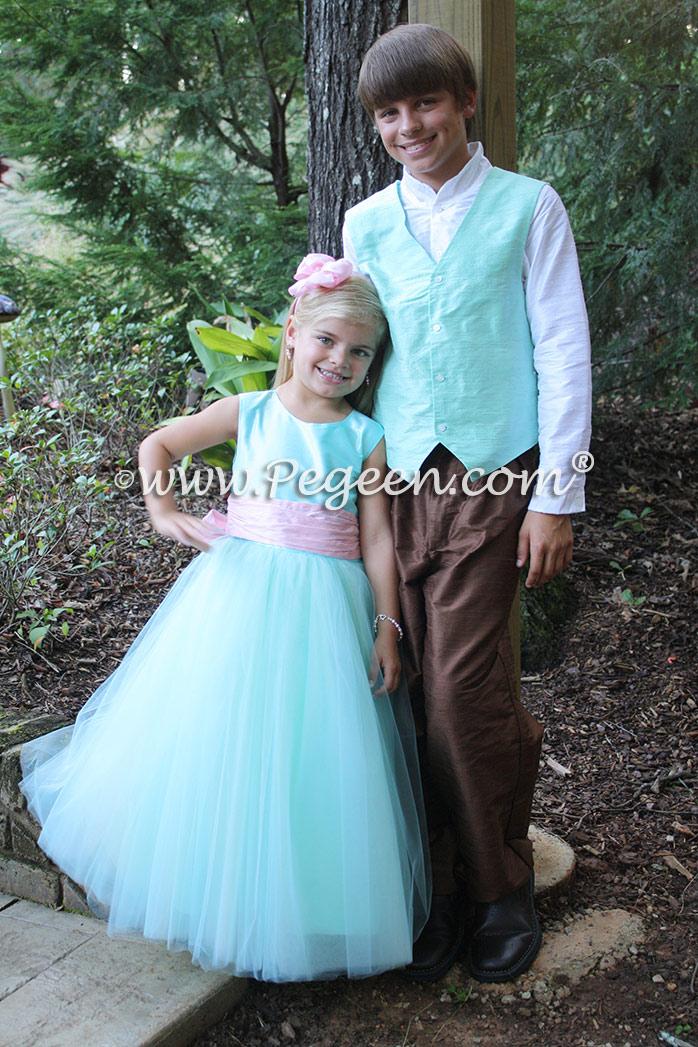 Pond tiffany blue ring bearer and flower girl dresses