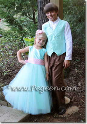 Tiffany blue and pink silk flower girl dresses