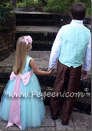 Tiffany blue tulle flower girl dresses and ring bearer suit