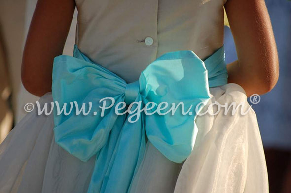 Tiffany blue POND and Summer tan flower girl dresses